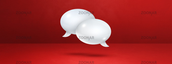 White speech bubbles on red banner background