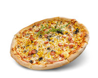 Pizza with cheese and tomato sauce isolated on white background. sausage, olive and maize topping.