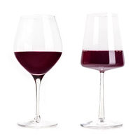 Red wine glasses, a set. A classic elegant wineglass and a modern power glass