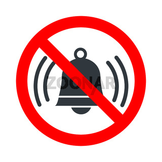 Noise not allowed, red forbidden sign with ringing bell icon on white background