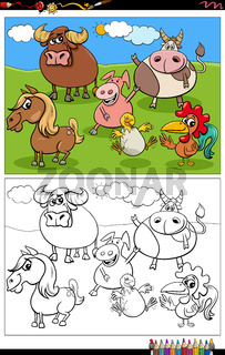 cartoon farm animals characters group coloring book page