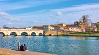 Rimini in Italy with the Bridge of Tiberius and the Old town
