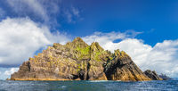 Panorama of entire Skellig Michael island with Little Skellig in background