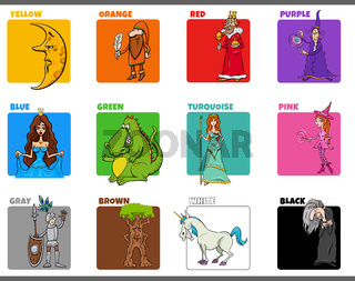basic colors set with cartoon fantasy characters