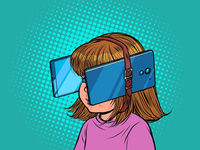 Little girl in virtual reality. Dependence on gadgets. Child and mobile smartphones