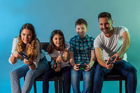 Group of friends together start virtual game
