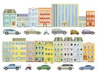 Houses in the city with cars on the street, illustration isolated