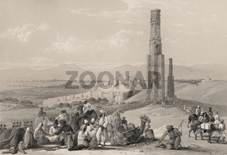 The fortress and citadel of Ghazni and the two Minarets, First Anglo-Afghan War, sketch by James Atkinson, 1839