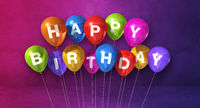 Colorful happy birthday air balloons on a purple background scene. Horizontal Banner