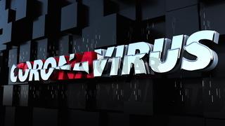 Computer generated background with banner Coronavirus. 3d rendering of volumetric letters. Coronavirus pandemic