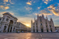 Milan Italy, sunrise city skyline at Milano Duomo Cathedral empty nobody