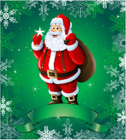 Green Christmas greeting card with santa claus