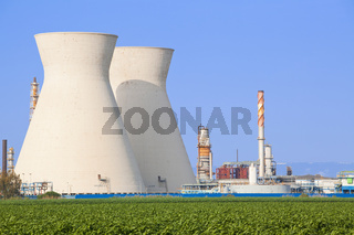 Nuclear power station ander blue sky