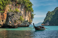 Tropical islands view with long tail boat and ocean blue sea water at Koh Lao Lading, Krabi Thailand nature landscape