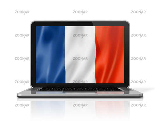 French flag on laptop screen isolated on white. 3D illustration