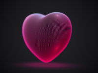 3D digital futuristic glowing pink heart on gray background.