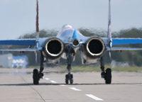 Moscow Russia Zhukovsky Airfield 31 August 2019: aerobatic Su-35 perfoming demonstration flight of the international aerospace salon MAKS-2019