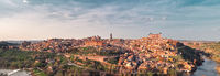 Toledo city surrounded by Tagus river located on hilltop. Spain