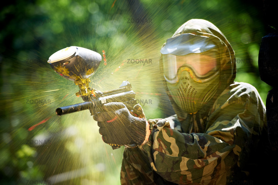 paintball player direct hit