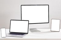 Composition of desktop computer, laptop, tablet and smartphone with copy space on white background