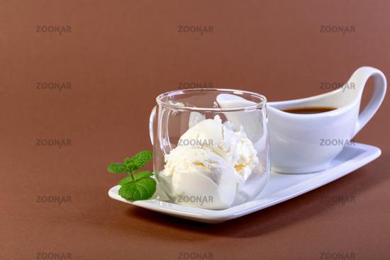 Affogato coffee with espresso and ice cream.