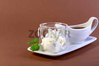 Affogato coffee with espresso and ice cream.