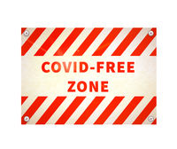 Bright glossy red and white warning plate with COVID FREE ZONE sign on white