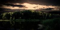 Cool dramatic sunset lake