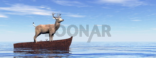 Buck standing on a wooden boat - 3D render