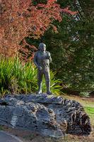 TE ANAU, FIORDLAND, NEW ZEALAND - FEBRUARY 17 : Statue of Quinton Makinnon 1851-1892 in Te Anau New Zealand on February 17, 2012