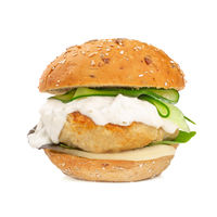Fishburger with cod isolated on white