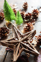 Star with lights and pine cones
