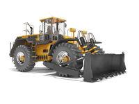 Universal orange wheel bulldozer 3D rendering on white background with shadow