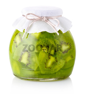 Exotic kiwi jam with slices isolated on white