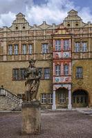 Courtyard of Bernburg Castle during the restoration phase