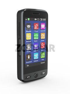Black mobile phone on white isolated background. 3d