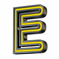 Yellow black outlined font Letter E 3D
