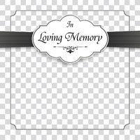 Obituary Frame Emblem Ribbon In Memory