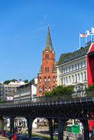 Hamburg, Gustaf Adolfskyrkan, Elbpromenade, Portuguese quarter, Germany