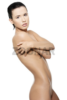 Nude beautiful fit woman with fresh clean skin