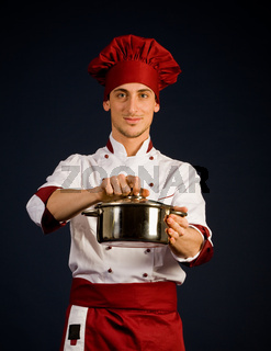 Chef with pot