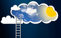 Ladder into the sunny sky