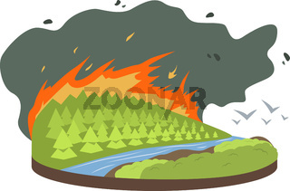 Wildfire cartoon vector illustration. Birds flying from burning forest, woods. Fire destroying woodland. Cataclysm. Extreme weather conditions. Flat color natural disaster isolated on white background