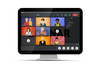 Screen of video conference, modern software for virtual meetings, remote work or lections on home computer on white