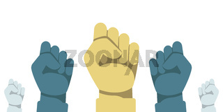 Protest concept. Vector illustration of raised human hands with clenched fists. Raised fist