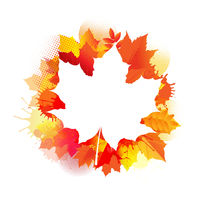 Autumn Poster With Stain And Leaves Poster