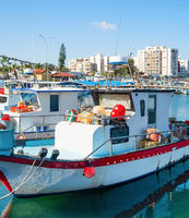 Marina fishing boats Larnaca Cyprus