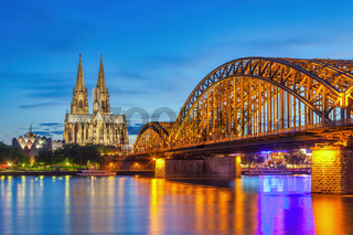 Cologne Germany, night city skyline at Cologne Cathedral (Cologne Dom)