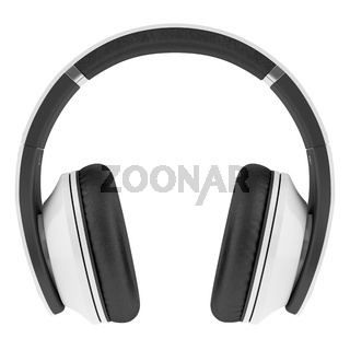 white and black wireless headphones isolated on white background