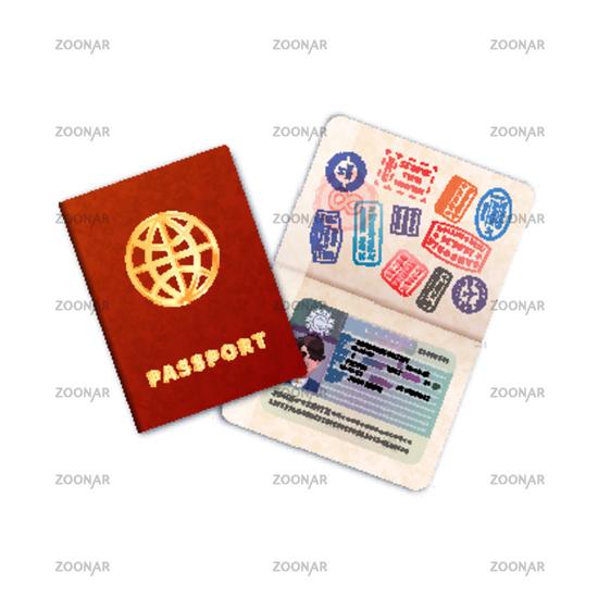 Two bright passports with EU visa on white